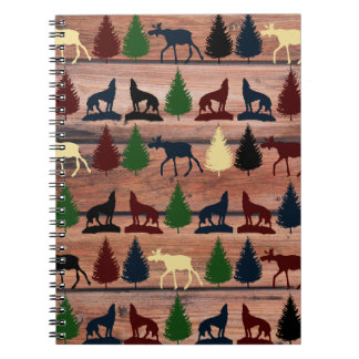Forest Moose Wolf Wilderness Mountain Cabin Rustic Spiral Note Books