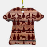 Forest Moose Wolf Wilderness Mountain Cabin Rustic Christmas Tree Ornaments