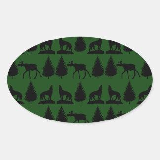 Forest Moose Wolf Wilderness Mountain Cabin Rustic Oval Sticker