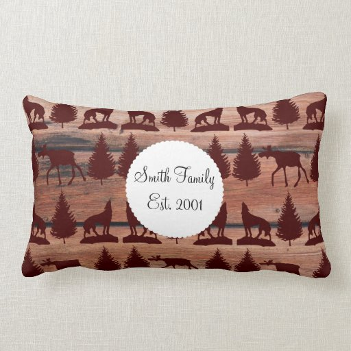 Forest Moose Wolf Wilderness Mountain Cabin Rustic Throw Pillows