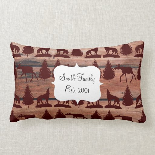 Forest Moose Wolf Wilderness Mountain Cabin Rustic Throw Pillow