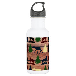 Forest Moose Wolf Wilderness Mountain Cabin Rustic Stainless Steel Water Bottle