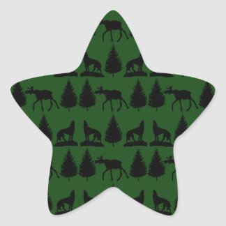 Forest Moose Wolf Wilderness Mountain Cabin Rustic Star Sticker