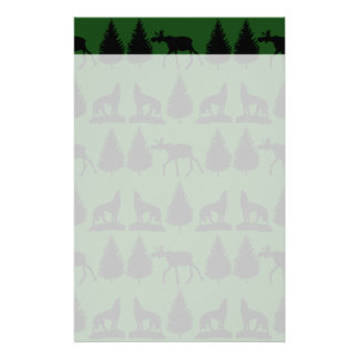 Forest Moose Wolf Wilderness Mountain Cabin Rustic Stationery