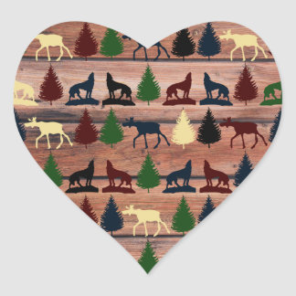 Forest Moose Wolf Wilderness Mountain Cabin Rustic Heart Sticker