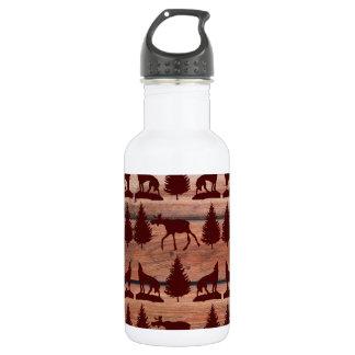 Forest Moose Wolf Wilderness Mountain Cabin Rustic Water Bottle