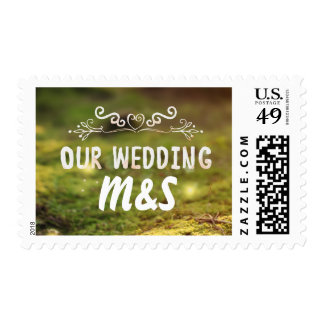 forest moss enchanted wedding postage