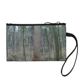 Forest mossy ground and tree trunks coin wallet