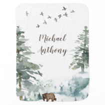 Forest Mountain Boy Country Bear Deer Name Nursery Baby Blanket
