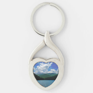 Forest Mountain Clouds Over A Lake Photo Keychain