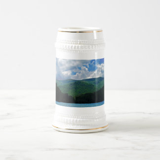 Forest Mountain Clouds Over A Lake Photo 18 Oz Beer Stein