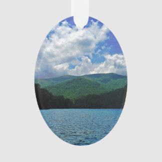 Forest Mountain Clouds Over A Lake Photo Ornament