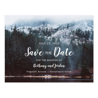 Forest Mountain Lake & Snow Save the Date Postcard