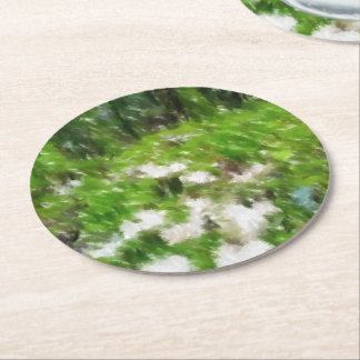 Forest mushroom edited photo round paper coaster