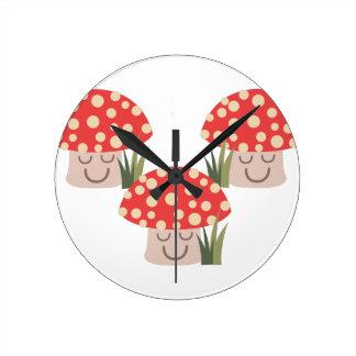 Forest Mushrooms Round Clock