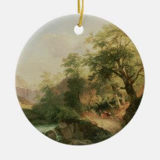 Forest near Vienna, 1852 (oil on canvas) Ceramic Ornament