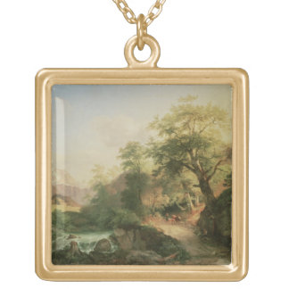 Forest near Vienna, 1852 (oil on canvas) Gold Plated Necklace