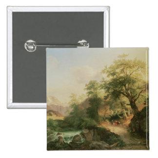 Forest near Vienna, 1852 (oil on canvas) Pinback Button