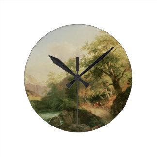 Forest near Vienna, 1852 (oil on canvas) Round Clock