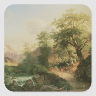 Forest near Vienna, 1852 (oil on canvas) Square Sticker
