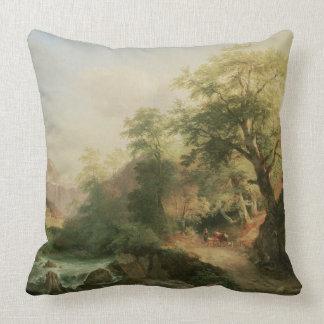 Forest near Vienna, 1852 (oil on canvas) Throw Pillow