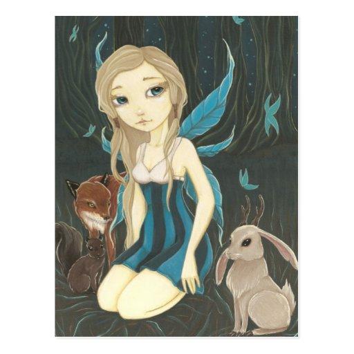 Forest Night- Fairy jackalope postcard