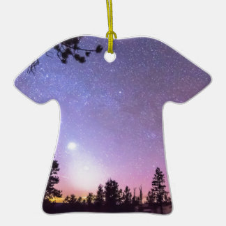 Forest Night Star Delight Double-Sided T-Shirt Ceramic Christmas Ornament