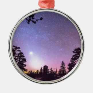 Forest Night Star Delight Round Metal Christmas Ornament