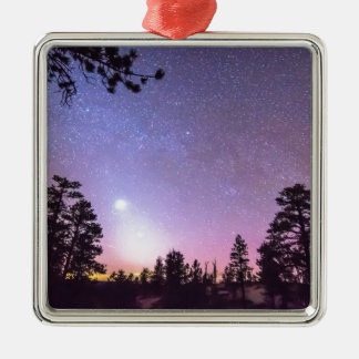 Forest Night Star Delight Square Metal Christmas Ornament