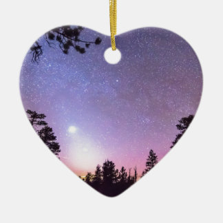 Forest Night Star Delight Double-Sided Heart Ceramic Christmas Ornament