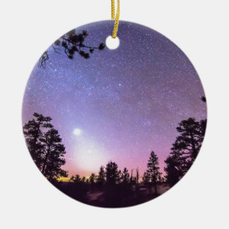 Forest Night Star Delight Double-Sided Ceramic Round Christmas Ornament
