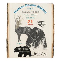Forest Nursery Deer Bear Baby Boy Birth Stats Wood Panel