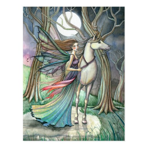 Forest of Dreams Fairy and Unicorn Postcard