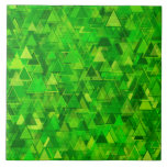 "[ Thumbnail: ""Forest"" of Green Triangle Shapes Pattern Ceramic Tile ]"