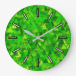"[ Thumbnail: ""Forest"" of Green Triangle Shapes Pattern Clock ]"
