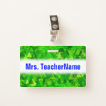 "[ Thumbnail: ""Forest"" of Green Triangle Shapes Pattern + Name Badge ]"