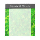 "[ Thumbnail: ""Forest"" of Green Triangle Shapes Pattern + Name Notepad ]"