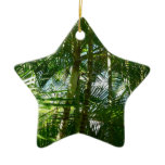 Forest of Palm Trees Tropical Green Double-Sided Star Ceramic Christmas Ornament