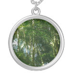 Forest of Palm Trees Tropical Green Round Pendant Necklace