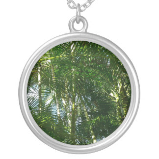Forest of Palm Trees Tropical Green Silver Plated Necklace