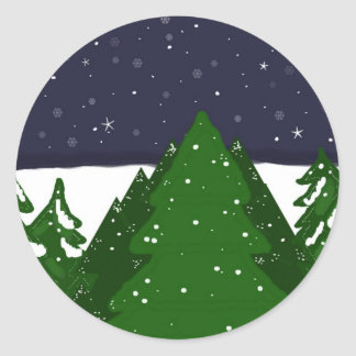 Forest of Trees on a Winter Night Stickers