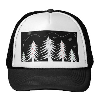 Forest of White Christmas Trees Mesh Hats