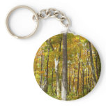 Forest of Yellow Leaves Autumn Nature Photography Keychain
