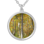 Forest of Yellow Leaves Autumn Nature Photography Silver Plated Necklace