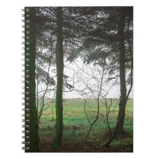 Forest overlooking clearing in the fog notebook