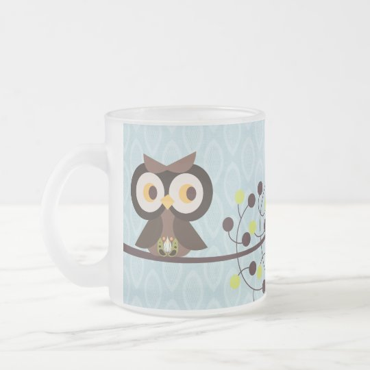 Forest Owl Woodland Frosted Glass Coffee Mug Cup