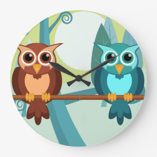 Forest Owls round clock