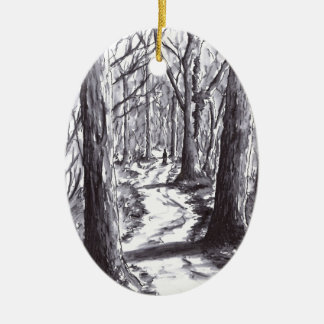 forest path ink landscape drawing ceramic ornament