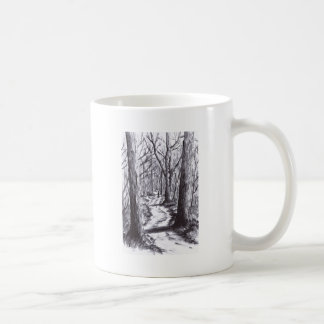 forest path ink landscape drawing coffee mug