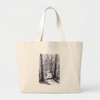 forest path ink landscape drawing large tote bag